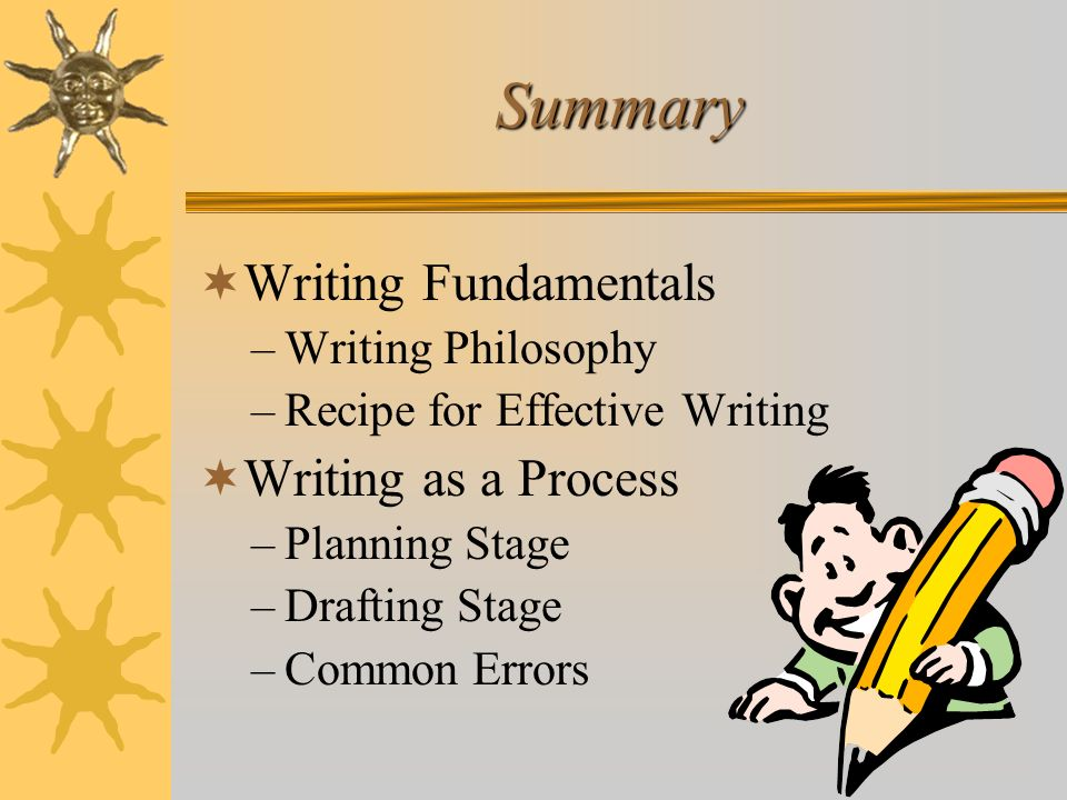 Summary Writing Fundamentals Writing as a Process Writing Philosophy