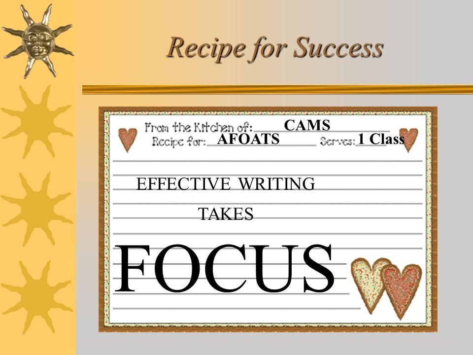 FOCUS Recipe for Success EFFECTIVE WRITING TAKES AFOATS CAMS 1 Class