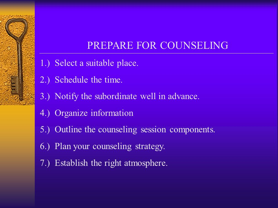PREPARE FOR COUNSELING