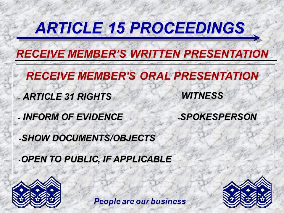 ARTICLE 15 PROCEEDINGS RECEIVE MEMBER'S WRITTEN PRESENTATION