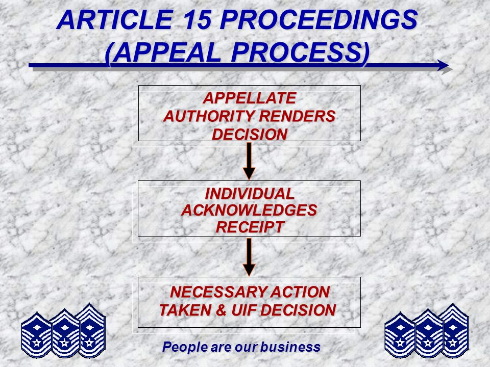 ARTICLE 15 PROCEEDINGS (APPEAL PROCESS) People are our business