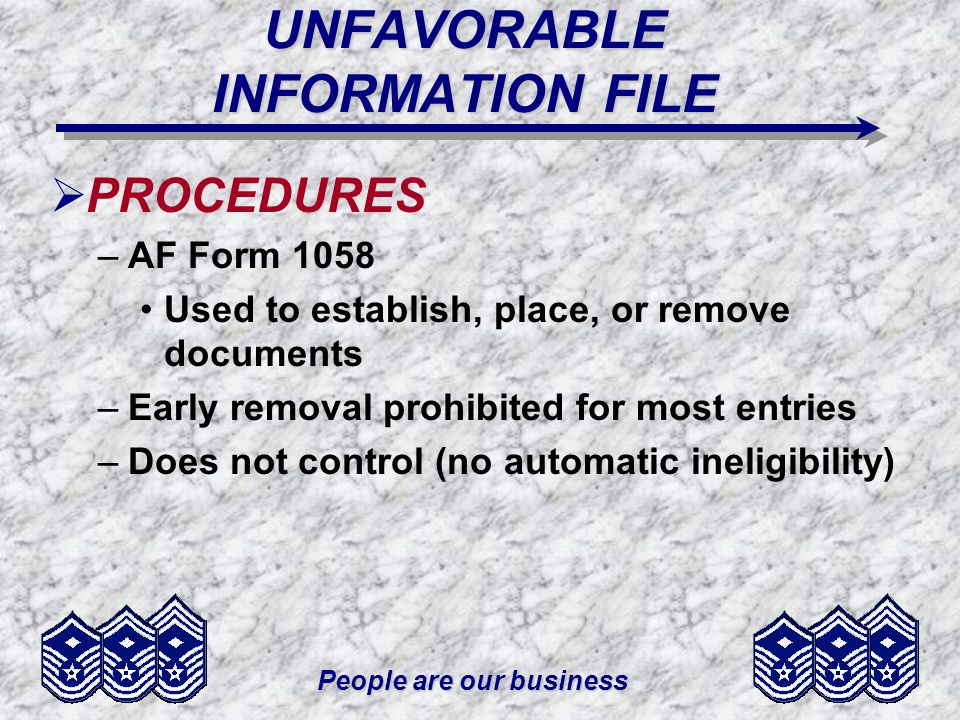 UNFAVORABLE INFORMATION FILE
