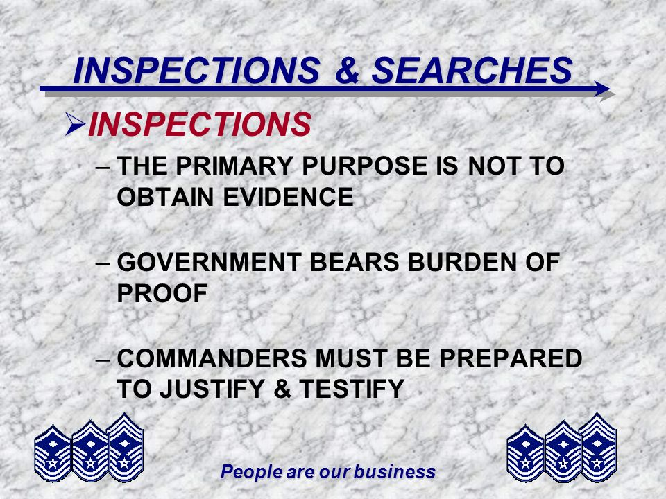 INSPECTIONS & SEARCHES