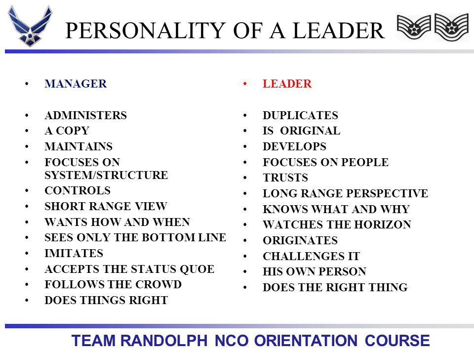 PERSONALITY OF A LEADER