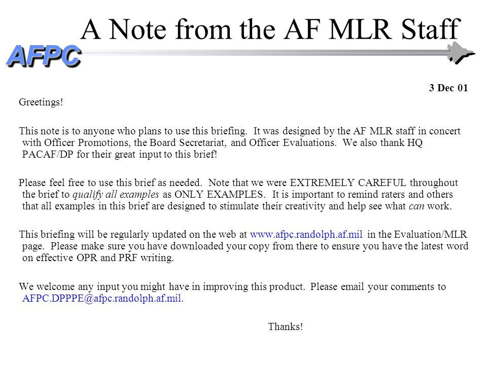 A Note from the AF MLR Staff