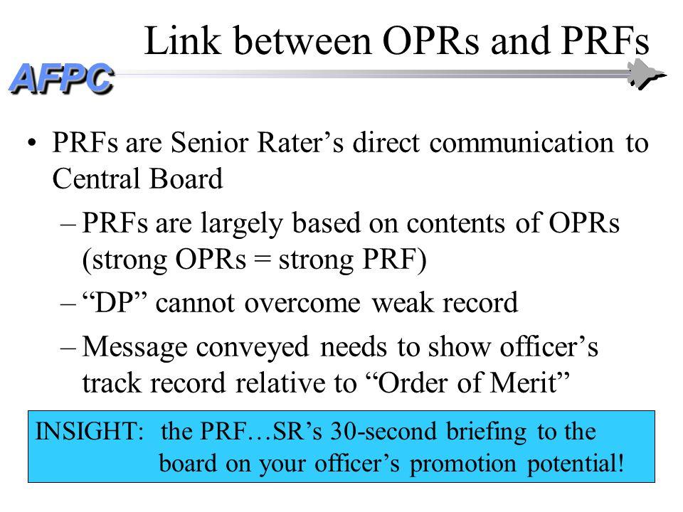 Link between OPRs and PRFs