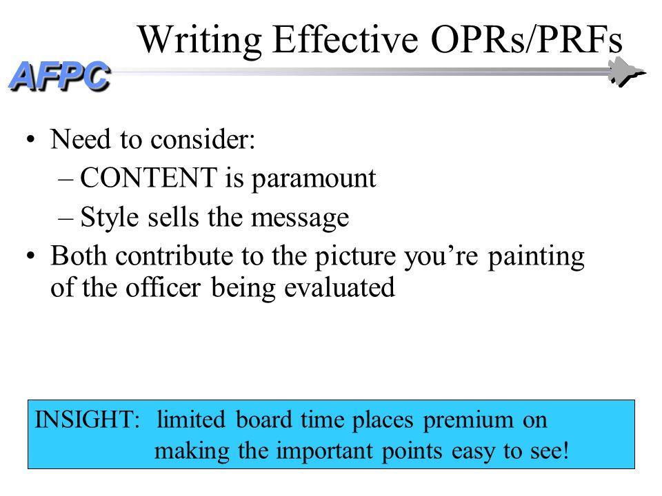 Writing Effective OPRs/PRFs