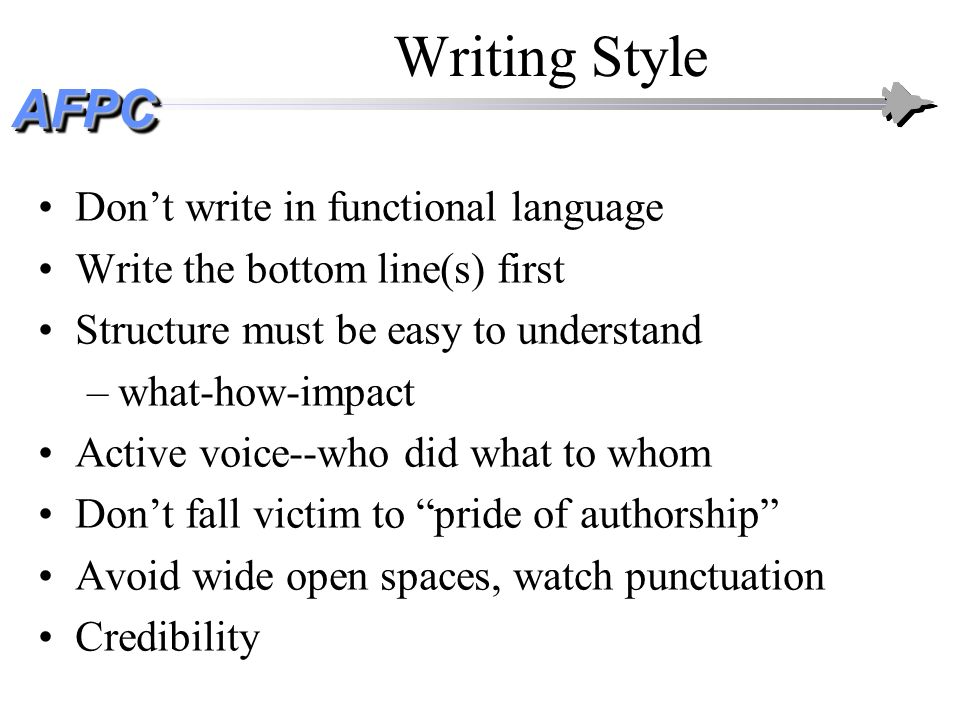 Writing Style Don't write in functional language
