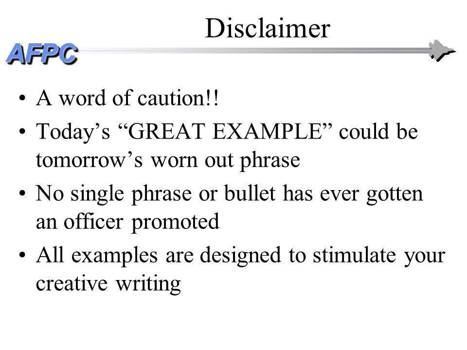 Disclaimer A word of caution!!
