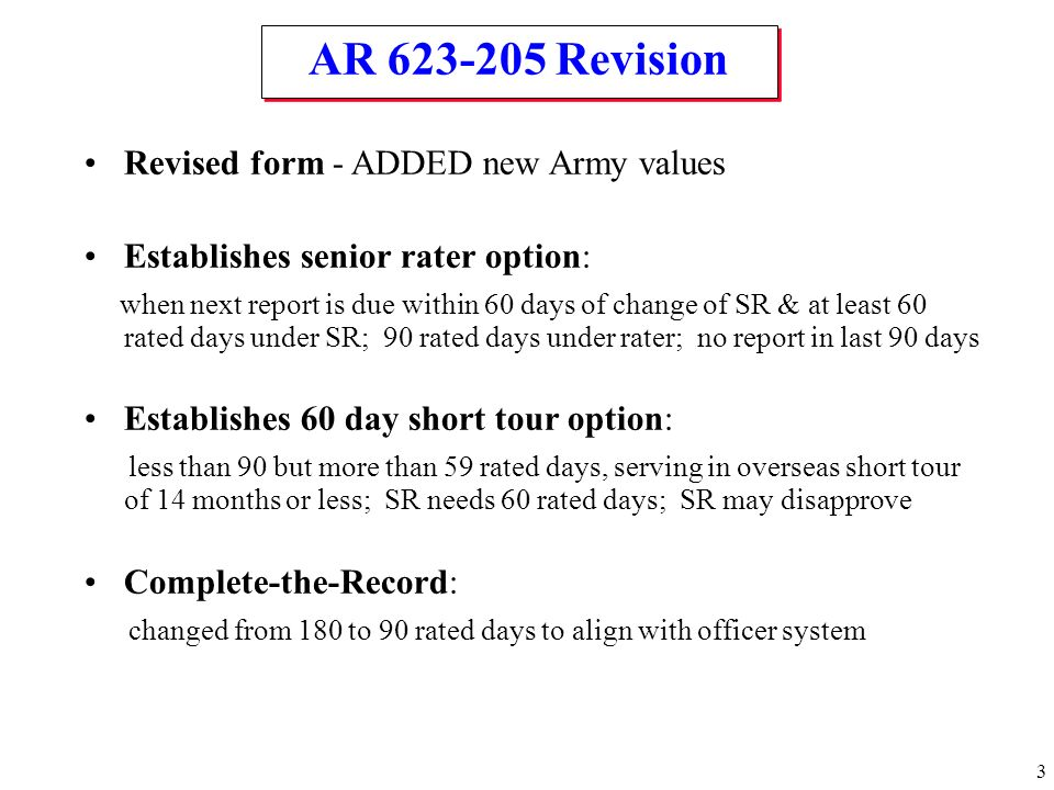 AR 623-205 Revision Revised form - ADDED new Army values