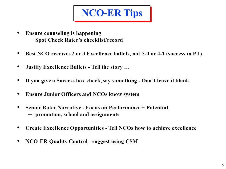NCO-ER Tips Ensure counseling is happening