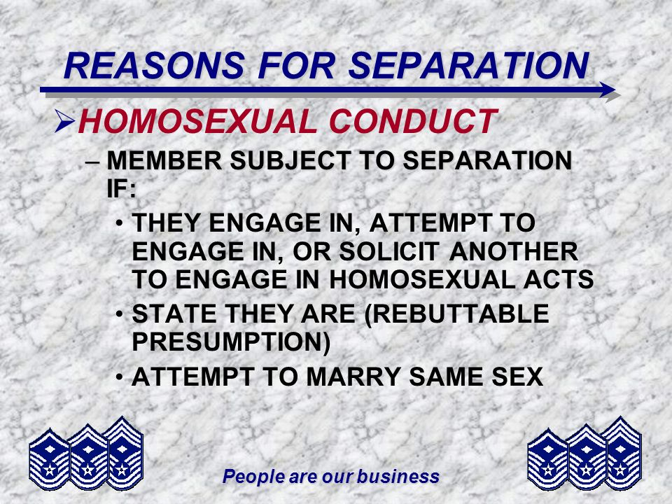 REASONS FOR SEPARATION