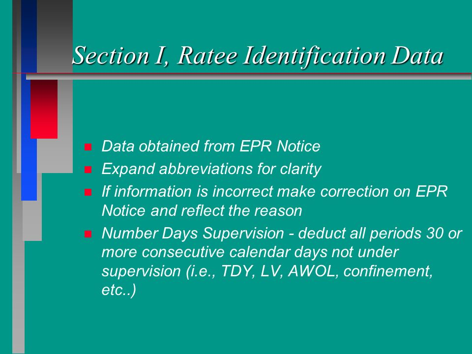 Section I, Ratee Identification Data