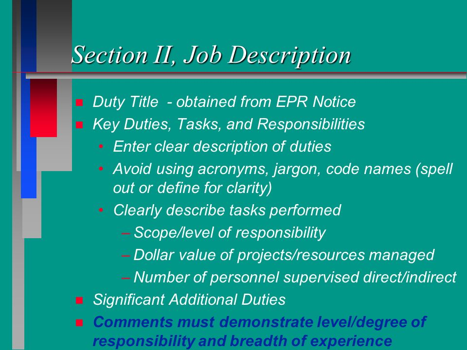 Section II, Job Description
