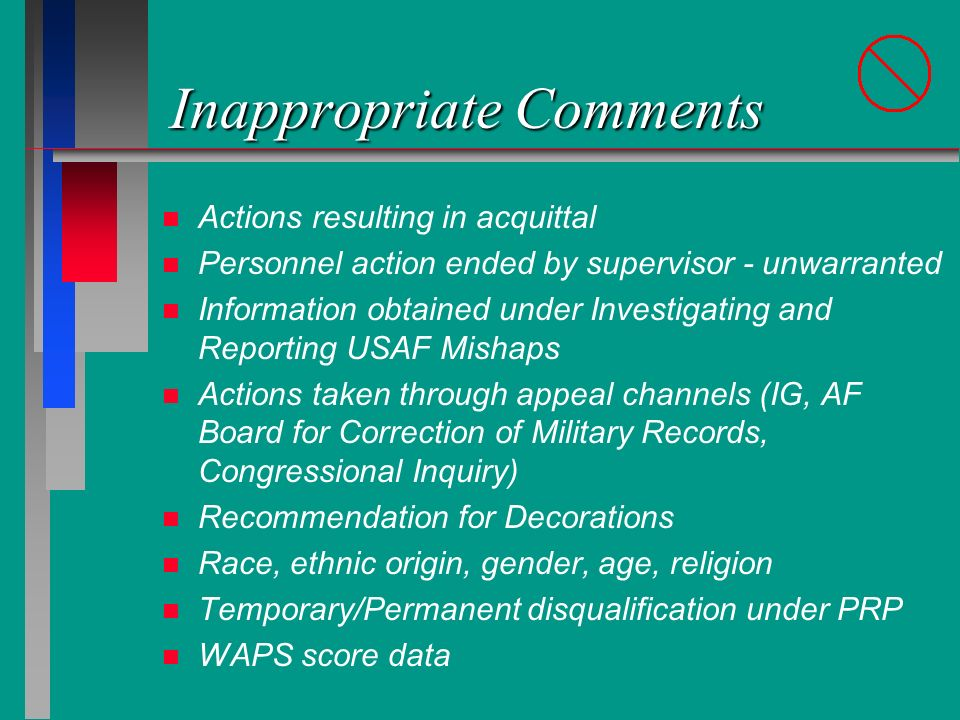 Inappropriate Comments