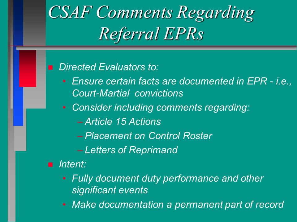 CSAF Comments Regarding Referral EPRs