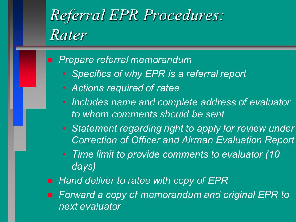 Referral EPR Procedures: Rater