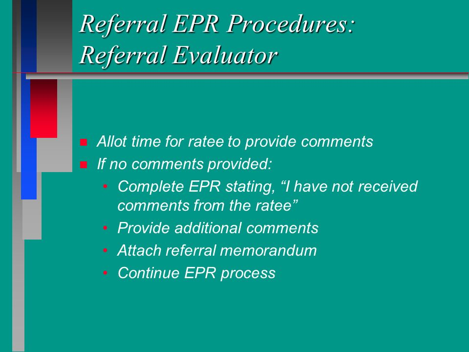 Referral EPR Procedures: Referral Evaluator