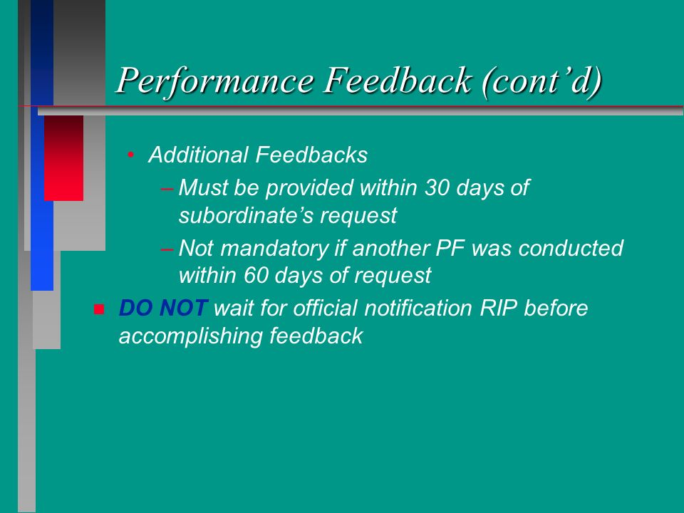 Performance Feedback (cont'd)