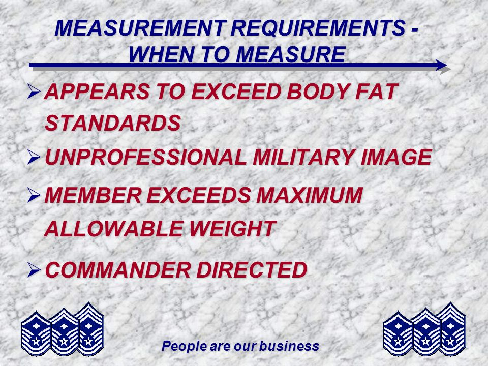 MEASUREMENT REQUIREMENTS - WHEN TO MEASURE
