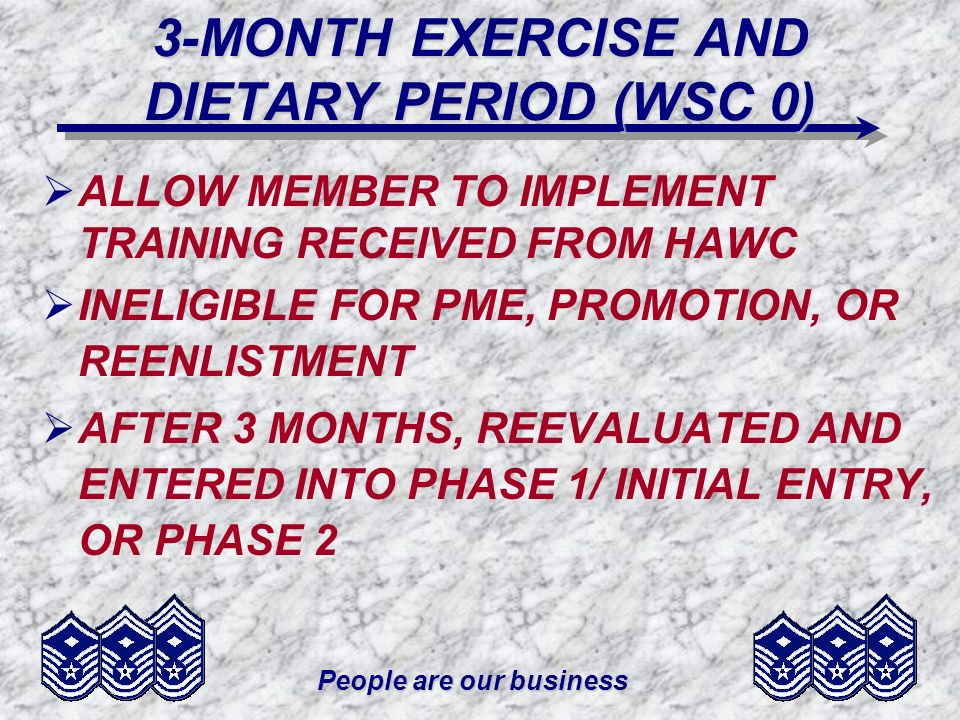 3-MONTH EXERCISE AND DIETARY PERIOD (WSC 0)