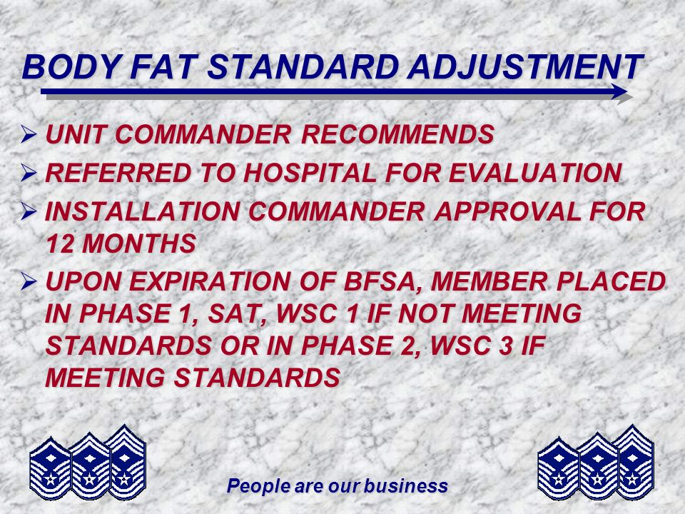 BODY FAT STANDARD ADJUSTMENT