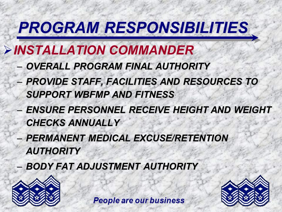 PROGRAM RESPONSIBILITIES