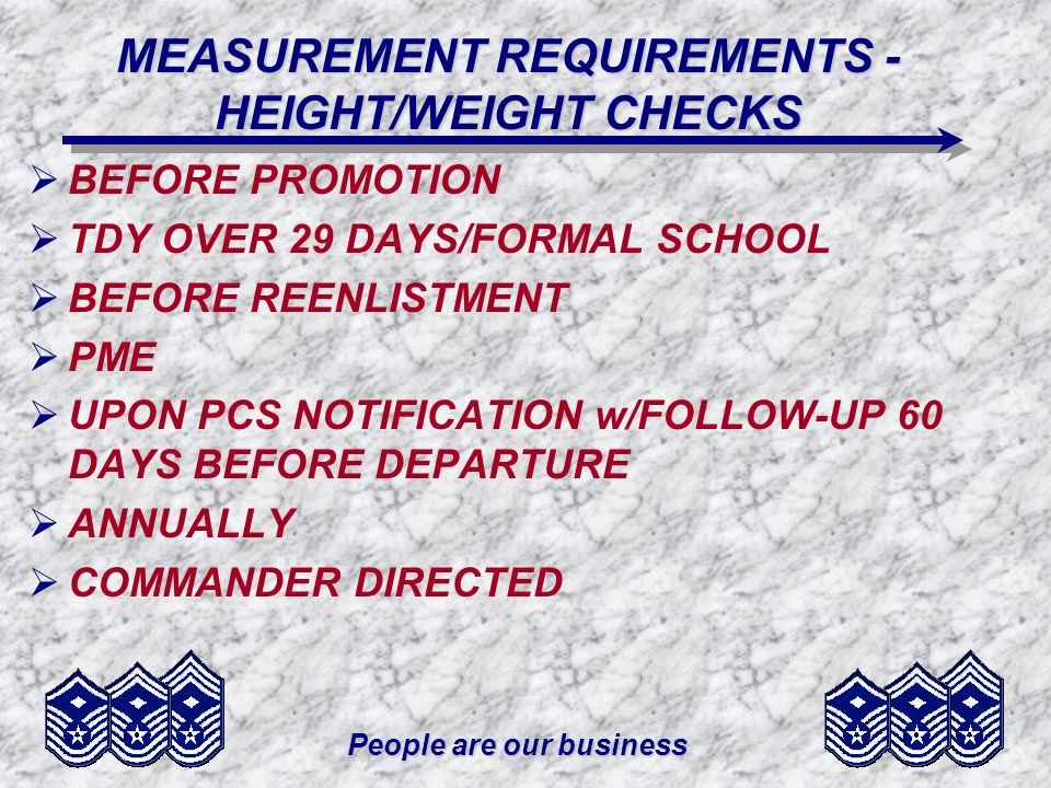 MEASUREMENT REQUIREMENTS - HEIGHT/WEIGHT CHECKS