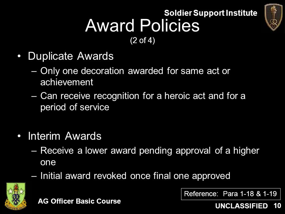 Award Policies (2 of 4) Duplicate Awards Interim Awards
