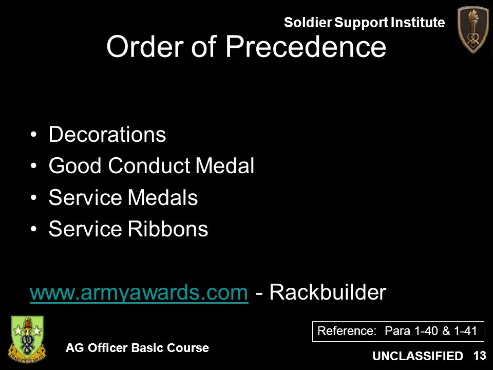 Order of Precedence Decorations Good Conduct Medal Service Medals