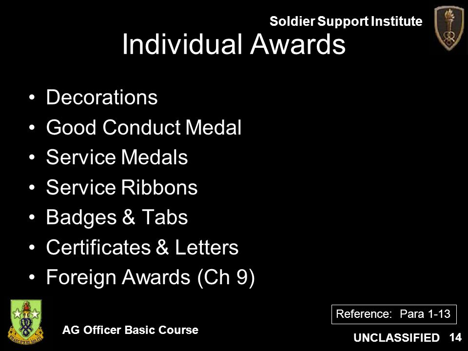 Individual Awards Decorations Good Conduct Medal Service Medals