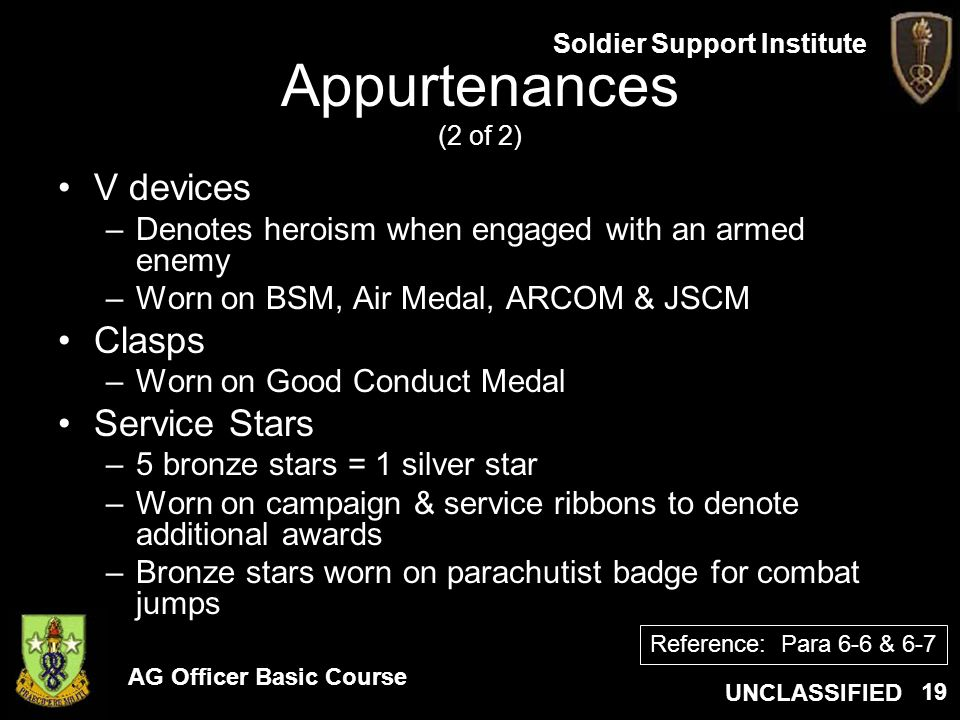 Appurtenances (2 of 2) V devices Clasps Service Stars