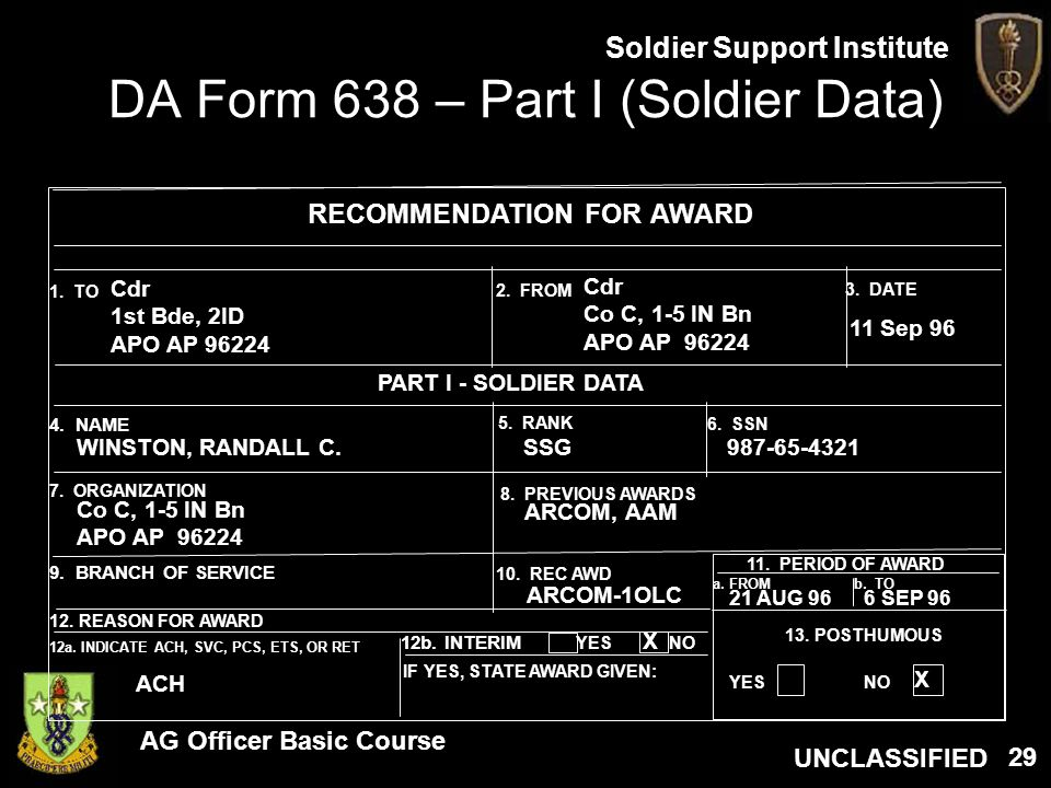 DA Form 638 – Part I (Soldier Data)