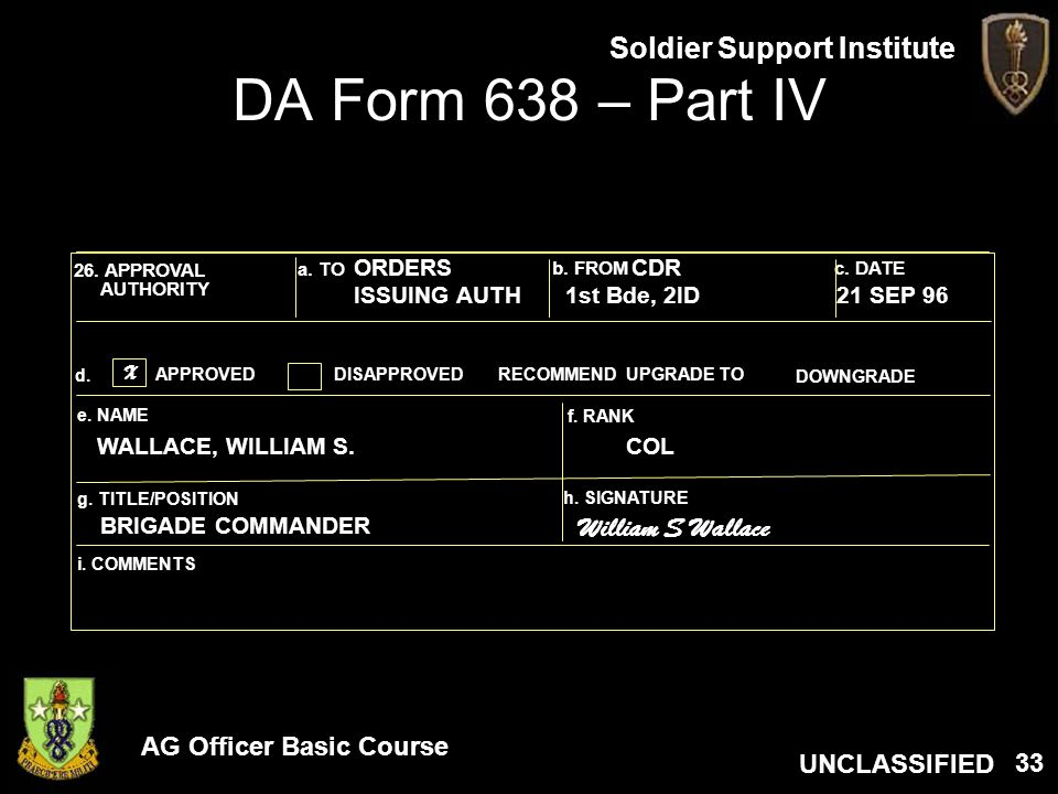 DA Form 638 – Part IV William S Wallace ORDERS CDR