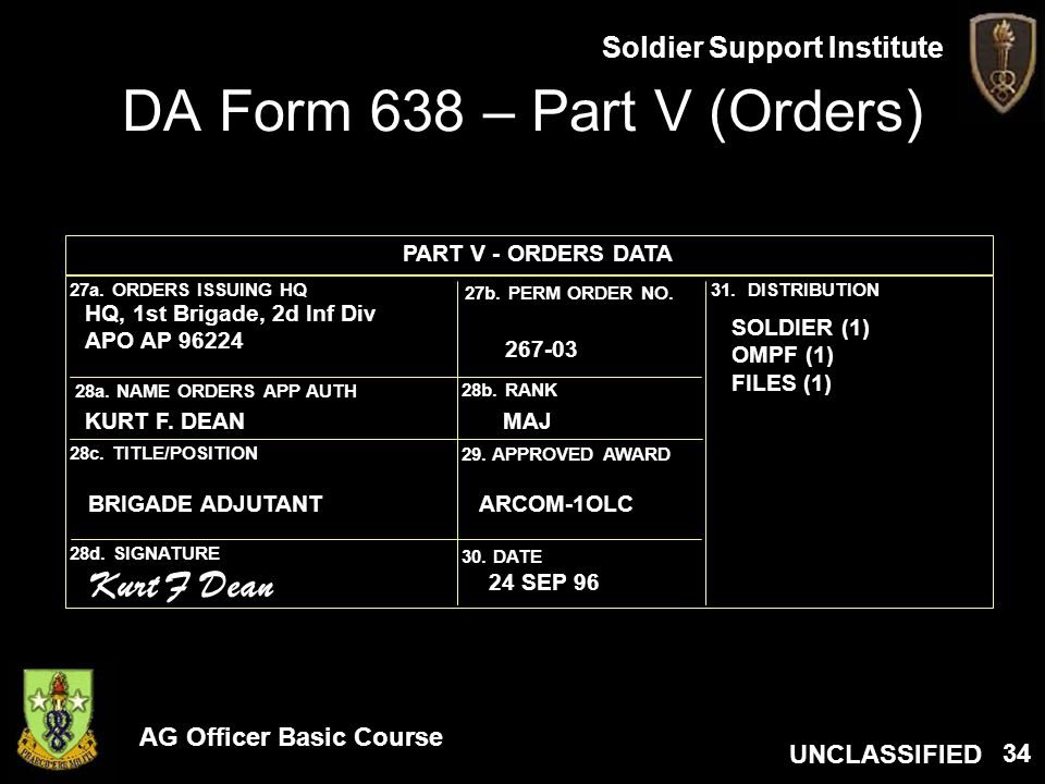 DA Form 638 – Part V (Orders)