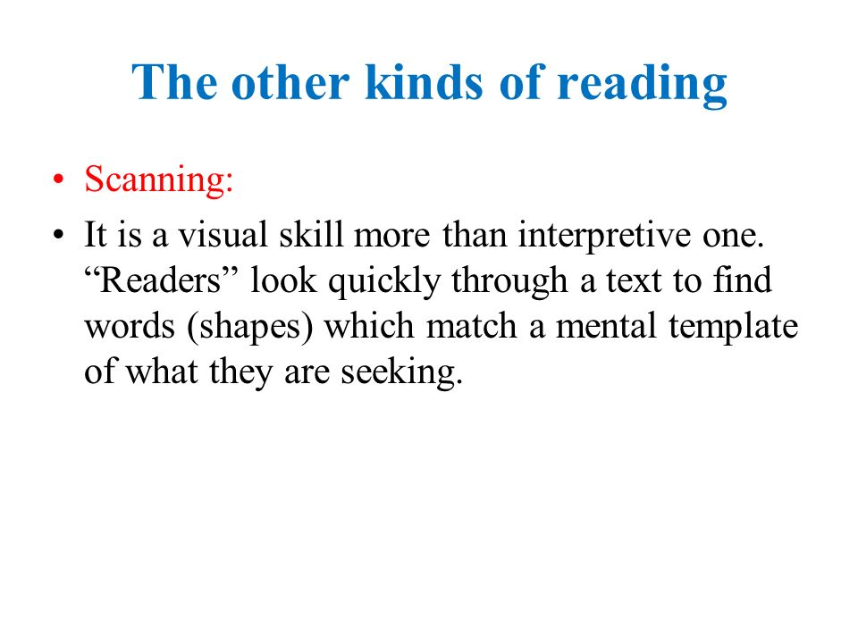 The other kinds of reading