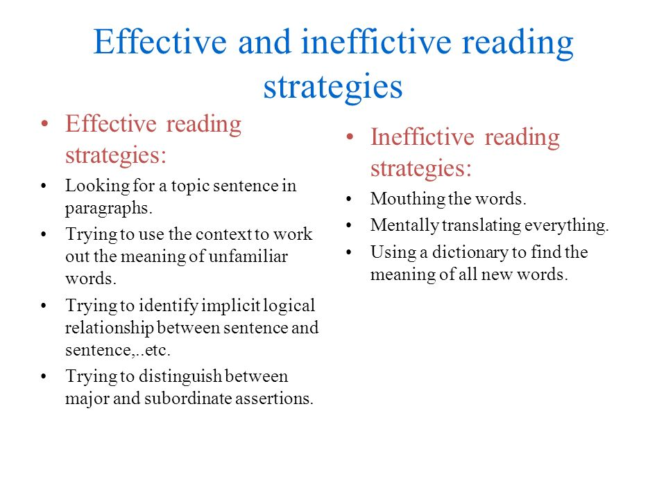Effective and ineffictive reading strategies