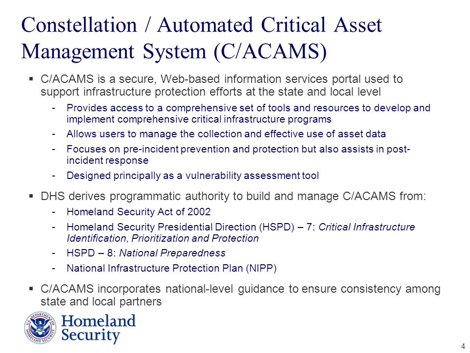Constellation / Automated Critical Asset Management System (C/ACAMS)