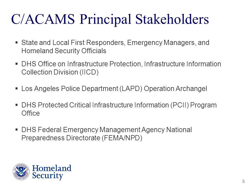 C/ACAMS Principal Stakeholders