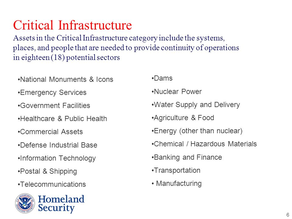 Critical Infrastructure Assets in the Critical Infrastructure category include the systems, places, and people that are needed to provide continuity of operations in eighteen (18) potential sectors