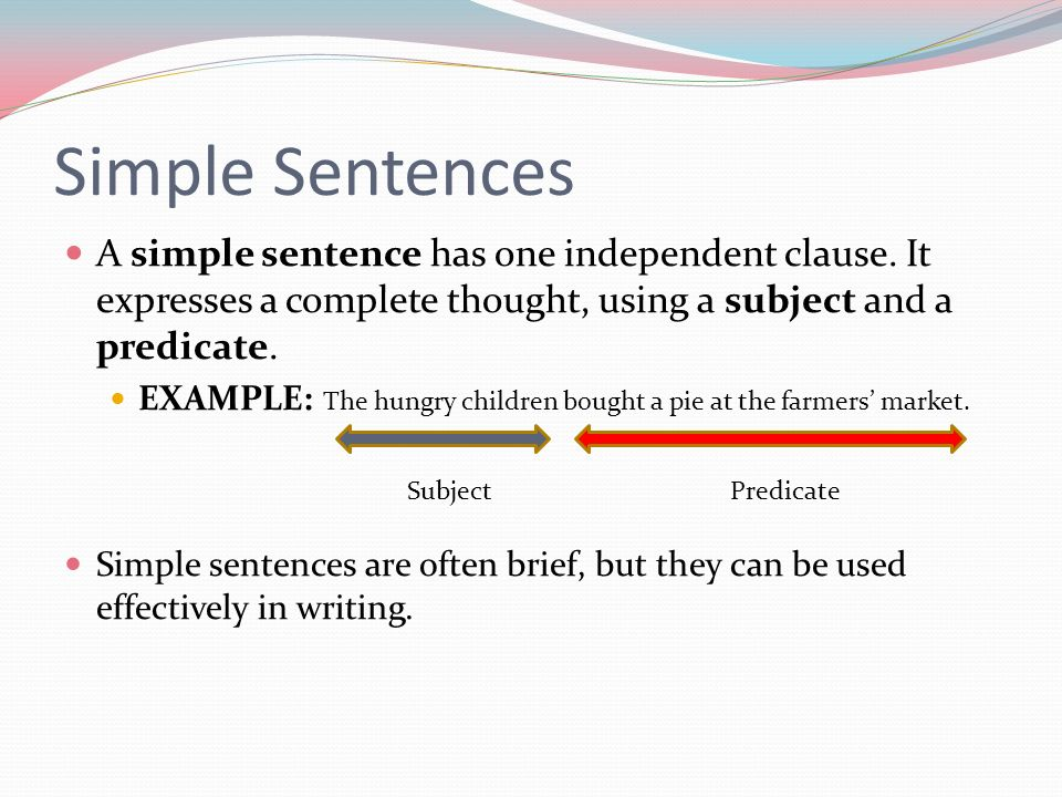 simple clause Basically, english has five simple clause types the structural differences in the  main verb phrase and its predicate elements are what distinguish the five types.
