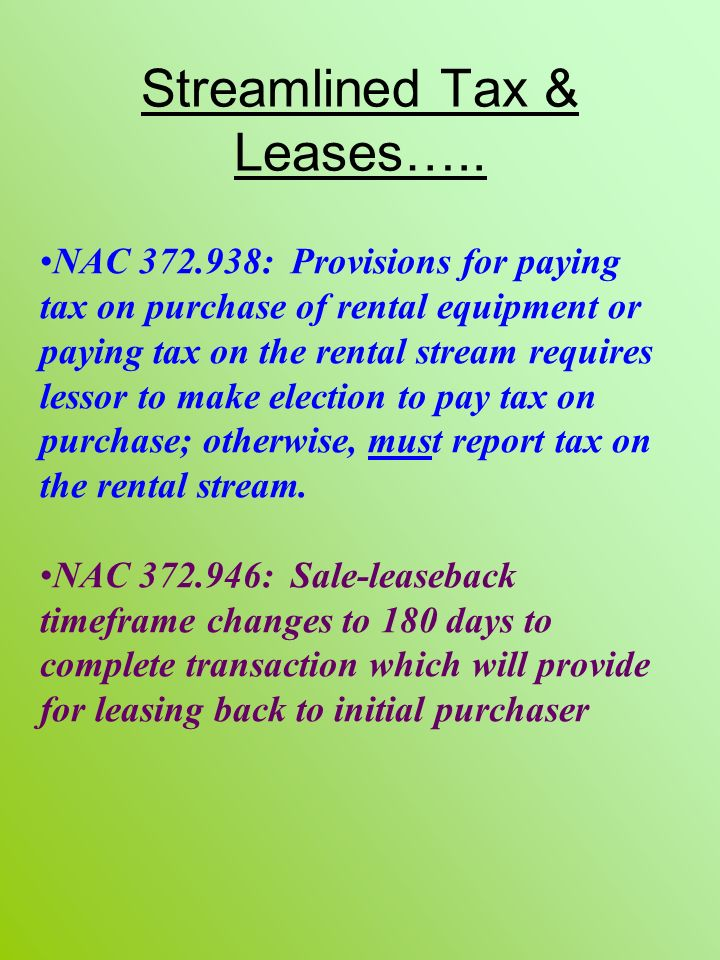 Streamlined Tax & Leases…..