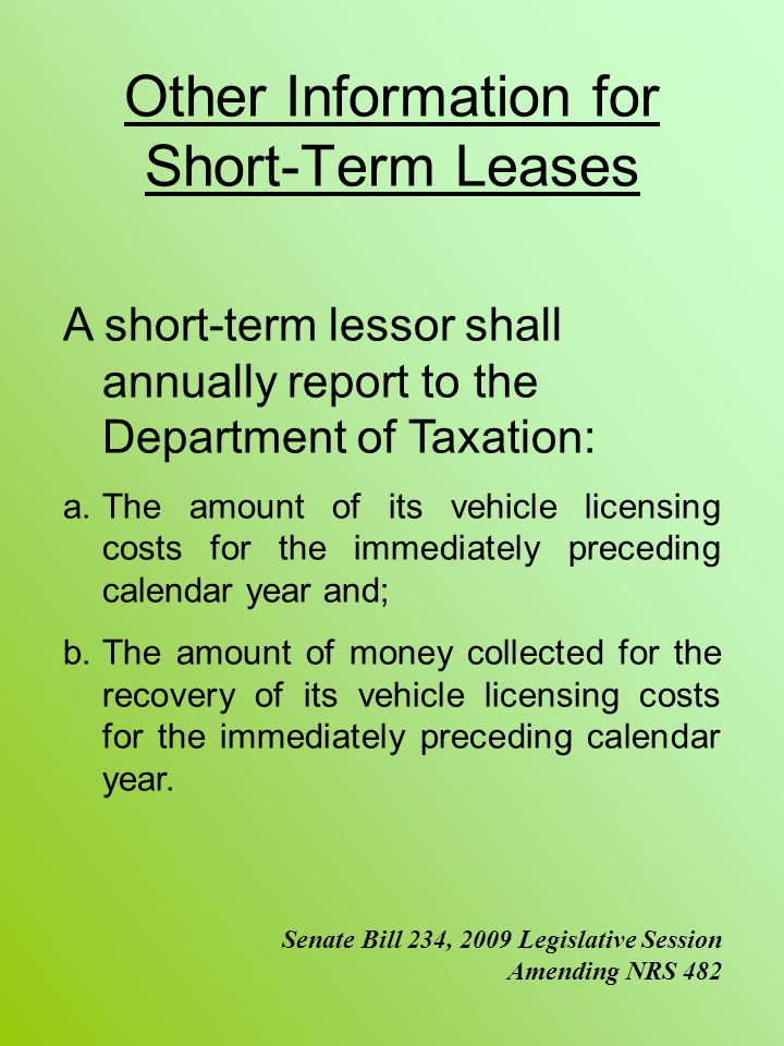 Other Information for Short-Term Leases