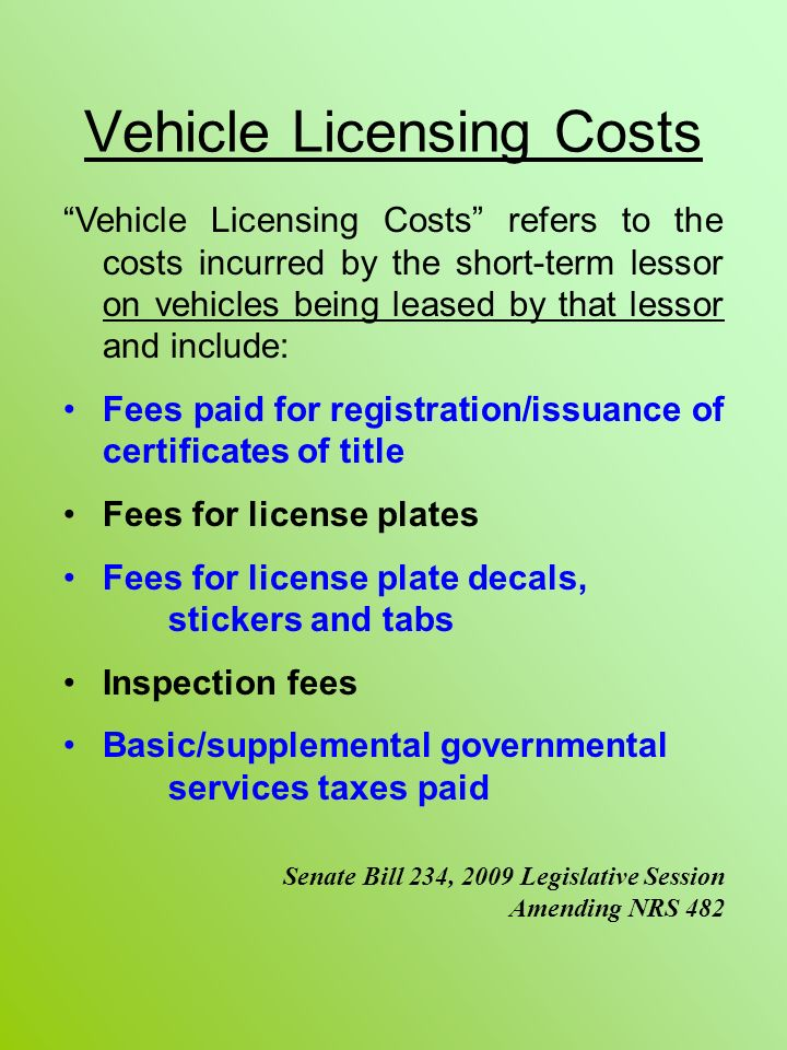 Vehicle Licensing Costs