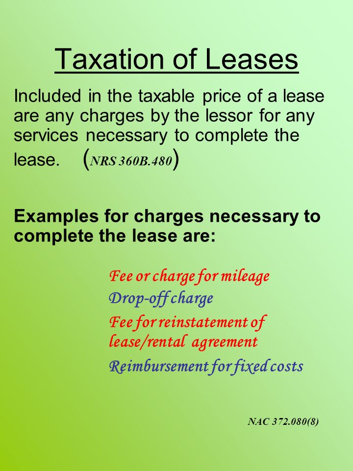 Taxation of Leases Fee or charge for mileage