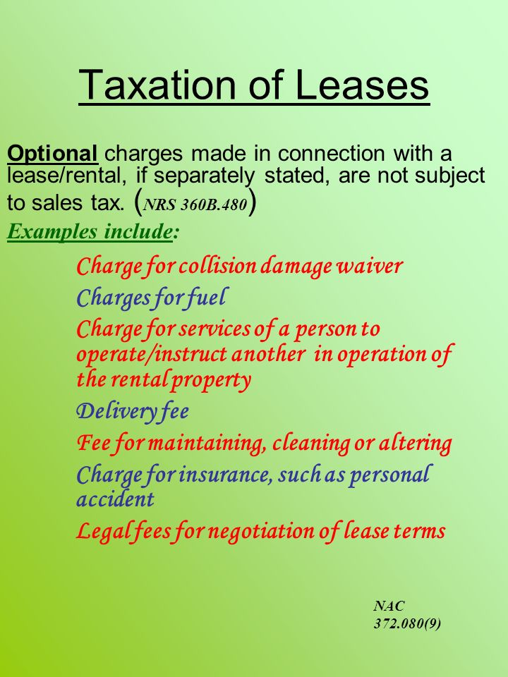 Taxation of Leases Charge for collision damage waiver Charges for fuel