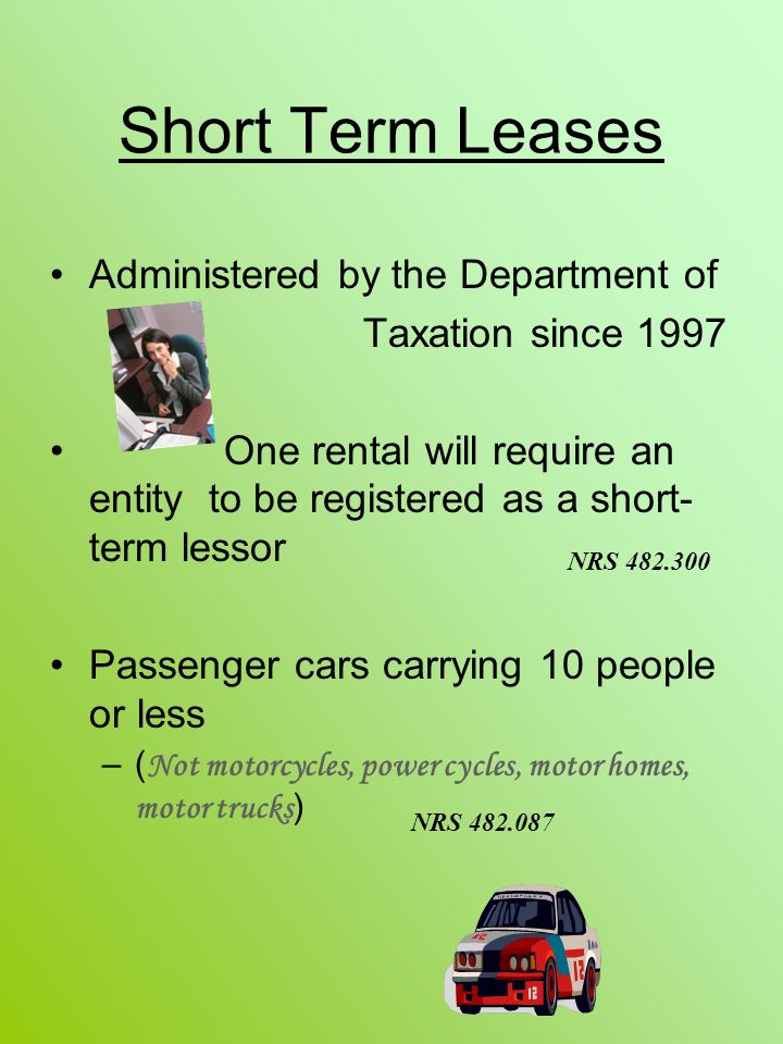 Short Term Leases Administered by the Department of