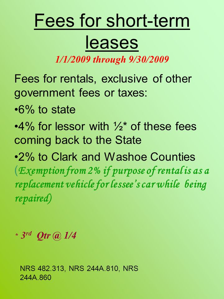 Fees for short-term leases 1/1/2009 through 9/30/2009
