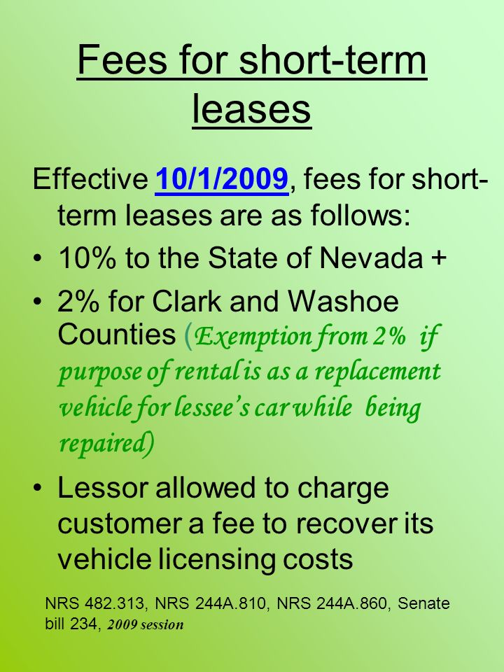 Fees for short-term leases