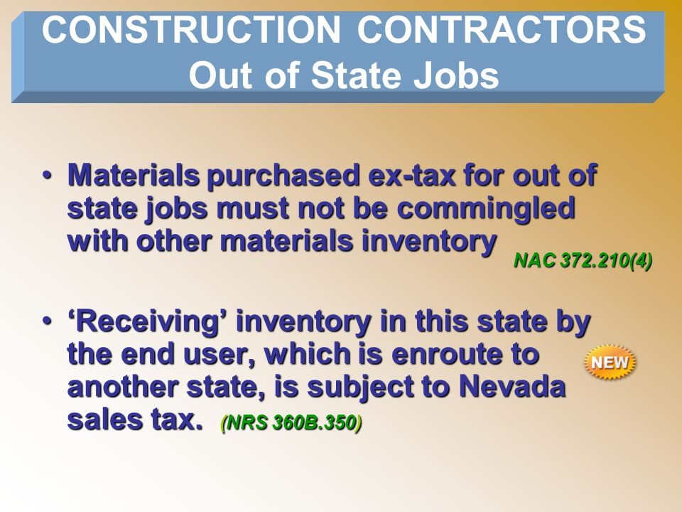 CONSTRUCTION CONTRACTORS Out of State Jobs